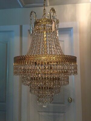 Large Floral Vintage Mid Century Crystal Chandelier Hollywood Regency French A