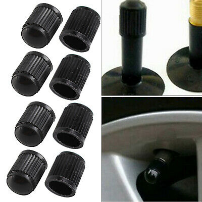 8pcs BLACK PLASTIC UNIVERSAL TYRE ALLOY WHEEL CAPS DUST VALVE CAR BIKE CYCLE