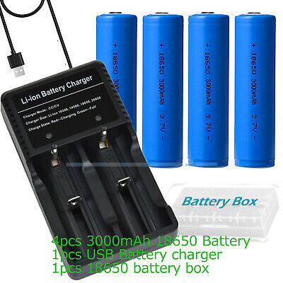 4 x 18650 3000mAh 3.7V Li-ion Rechargeable Battery + USB Charger for 18500 14500