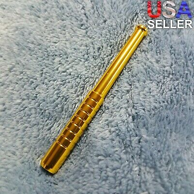 Small Gold One Hitter Bat Smoking Pipe Tobacco Herb Portable Metal Pocket Size