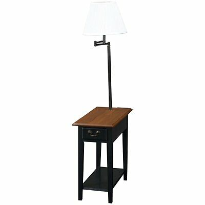 Leick Home Chairside End Table with Swing Arm Lamp in Black