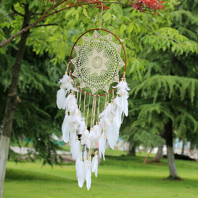 110CM Large White Handmade Dream Catcher With Feathers Wall Hanging Ornament US