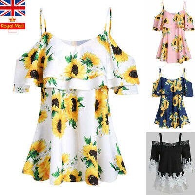 Women Cold Shoulder Foral Tops Ladies Summer Short Sleeve Casual Blouse T-Shirt