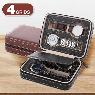 4 Grids Travel Watch Box PU Leather Storage Zipper Wristwatch Case Organizer