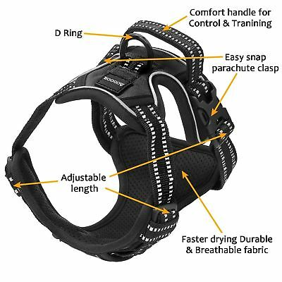 Dog Pet Harness No-pull Reflective Outdoor Adventure Pet Vest Padded Handle 3M