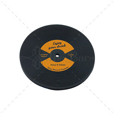 Bar Mat Barman Coaster to LP Disk Vinyl Orange Rubber D005O
