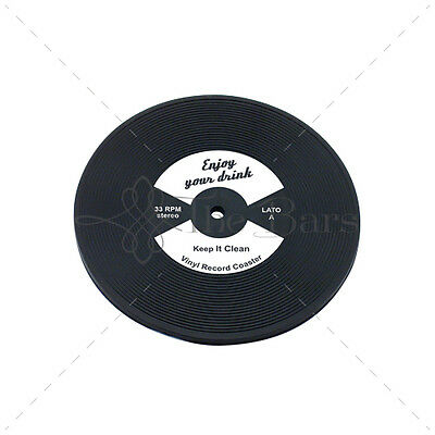 Bar Mat Barman Coaster to LP Disk White Vinyl Rubber D005W