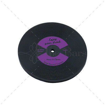 Bar Mat Barman Coaster to LP Disk Purple Vinyl Rubber D005P