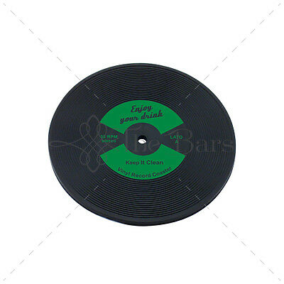 Bar Mat Barman Coaster to LP Disk Green Vinyl Rubber D005G