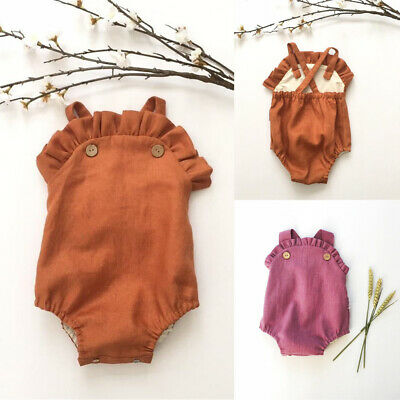 Summer Newborn Baby Girl Ruffle Romper Bodysuit Jumpsuit Sunsuit Outfits Clothes