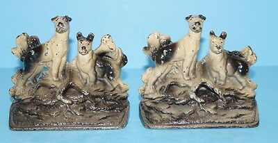 *ANTIQUE TERRIER DOG HUNTING DOGS CAST IRON BOOKENDS  CIRCA 1920's