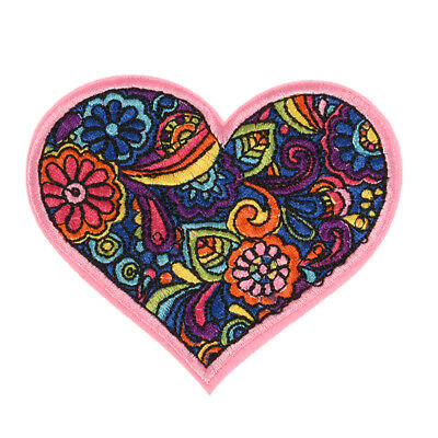 ColorfulFlower Heart Embroidered SewOn IronOn Patch Badge Bag Fabric AppliquesEP