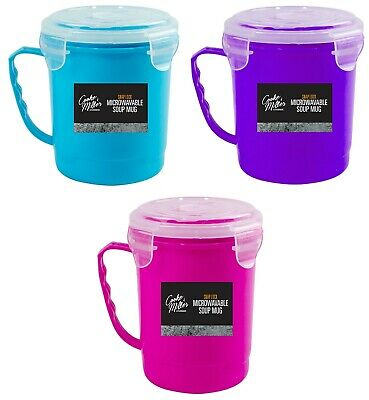 Heat /& Eat Soup Mug 0.7Ltr Microwavable Container Clip Lock Lid Bowl BPA Free