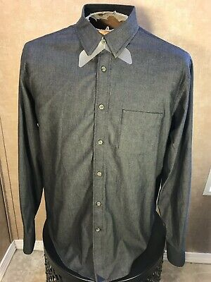 41c3944c9 UNTUCKit Men s Casual L S Button Up Dress Shirt Dark Gray Size Large Cotton  EUC