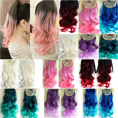 Stylish Mix Color Ombre Hair Extension Hairpiece 53cm Long Wavy Curly Ponytail