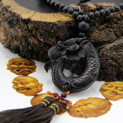 Crafts Carving Dragon Sculpture Car Pendant Prayer Ebony Wood Hang Decorations