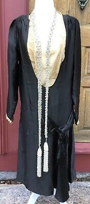 Antique 1920'S Black Satin Drop Waist Flapper Dress W Contrasting Lace & Sautior