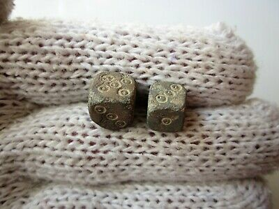 Lot of 2 ancient Roman carved lead dice legionary gaming pieces, 1-2AD.