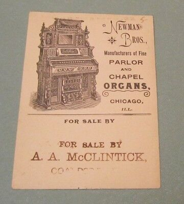 Newman Bros. Parlor and Chapel Organs Victorian Trade Card Instrument Pictured
