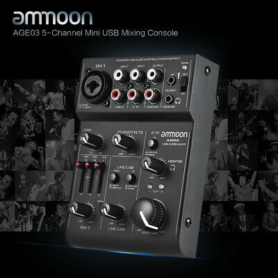 ammoon AGE03 5-Channel Mini Mic-Line Mixing Console Mixer High Quality V8G6