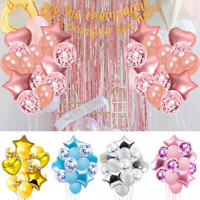 14PCS Foil Latex Rose Gold Blue Stars Heart Balloons Set Party Wedding Birthday