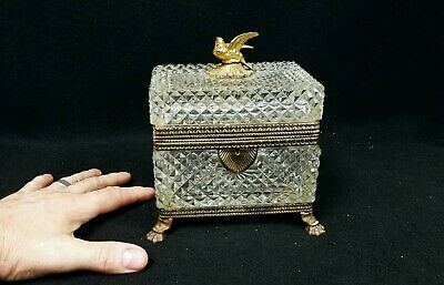 Large Antique Cut Glass Bronze Mounted Jewelry Dresser Box with Bird Finial