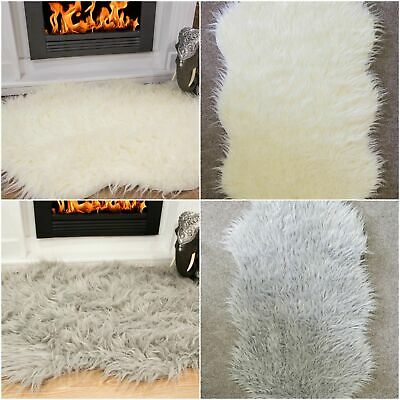 Cosy Fluffy Grey Ivory Faux Fur Sheepskins Double Throw Low Cost Free Delivery