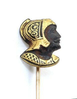 Antique Mid 1800'S Roman Warrior 22k gold Inlay Iron Damascened Gold Stick Pin