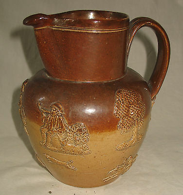 Antique Stoneware : Early Victorian large Stoneware Harvest Jug - nice sprigging