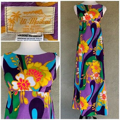 48f836a671df VINTAGE SEARS HAWAIIAN Maxi-Dress; Muumuu With Side Slit XL 1960s ...