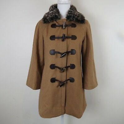 7772e291fa88 Anthropologie Elevenses Wool Brown Tan Coat Jacket Faux Fur 3/4 Sleeve  Womens 6