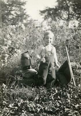 MT149 Vtg Photo CHILD WITH WHEEL BARROW HOLDING MARIGOLD FLOWERS Early 1900's