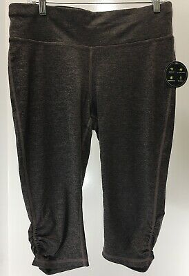 d3eebfe951 Xersion Womens Fitted Capri Leggings Heather Color Plum Truffle Size Large  NWT #