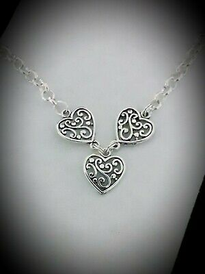 Adults Silver Plated Rolo Chain Charm Necklace Earrings Set With Filigree Hearts