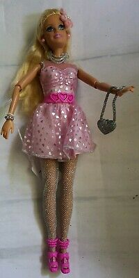 Barbie Doll Mattel 1998 Jointed Pink Silver Dress  Shoes Purse Jewelry Stockings