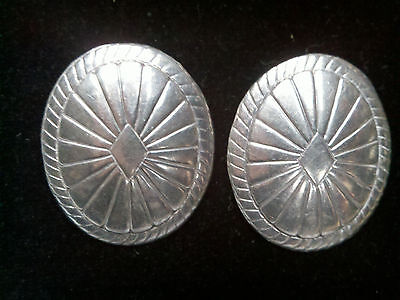 Vintage Native American Navajo Sterling Silver Stamped Conch Earrings studs