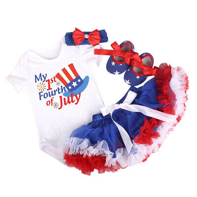 546fba553 My 1st 4th of July Newborn Baby Girl Clothes Outfits USA Flag Romper Tutu  Skirt