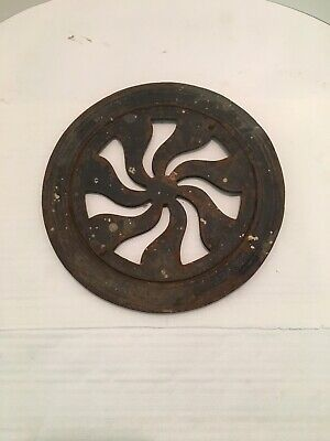 Antique Round Heat Register Grate, Cast Iron, Old House Salvage,Spiral Style !!!