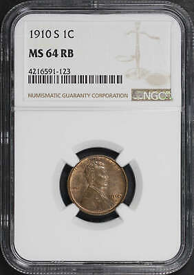 1910-S Lincoln Wheat Cent NGC MS-64 RB -149045