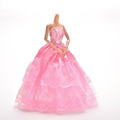 1 Pc Lace Pink Party Grown Dress for Pincess s 2 Layers Girl's GiftG_