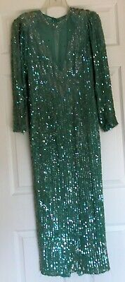 PARTY FASHIONS Vintage Long Formal Beaded Silk Ball Gown Aqua Sequined Dress M