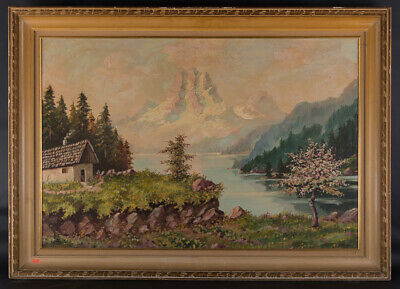 """Large Early 20th Century European Impressionist Oil Painting """"Mountain Landscape"""