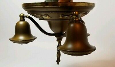 "Antique 3 Light SOLID BRASS CEILING LIGHT FIXTURE Flush Mount 8"" pan Ornate"