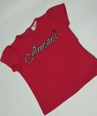 Armani Baby Girls Pink Short Puff Sleeve T Shirt Summer Holiday Age 9 Months