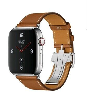 Apple Watch 44mm Hermes Style Deployment Buckle Strap Tour Brown Genuine Leather