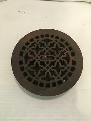 "Antique Victorian Cast Iron 7"" Round Heat Register Grate Grille"