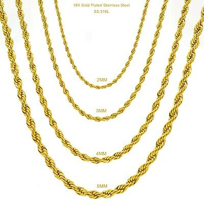 "Gold Plated Stainless Steel Rope Chain Necklace Men Women 316L 2mm-4mm 16""-26"""