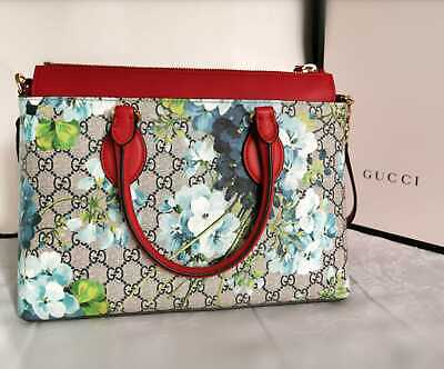 2a609a969fb421 NEW GUCCI GG Blooms Floral Supreme Canvas Leather Tote Shoulder Bag ...