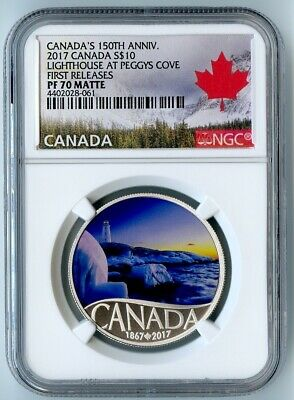 2017 Canada Ngc First Releases Pf70 Matte Silver Lighthouse At Peggys Cove S$10!