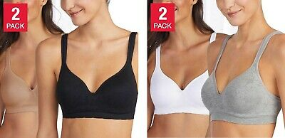 Carole Hochman Seamless Comfort Bra Wire Free Molded Cups Comfort Straps 2-Pack